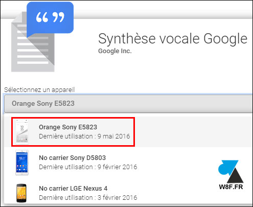 synthèse vocale google
